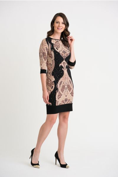 Joseph Ribkoff Black/Beige/Brown Dress Style 204325