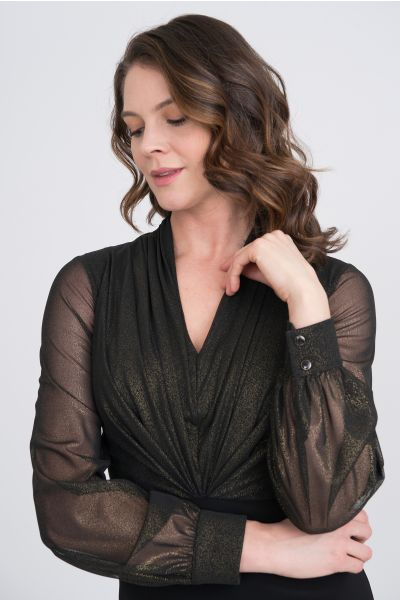 Joseph Ribkoff Black/Gold Dress Style 204344