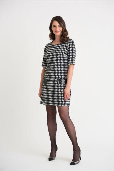 Joseph Ribkoff Black/White/Silver Dress Style 204400