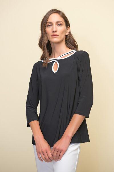 Joseph Ribkoff Black/Vanilla Cut-Out Neckline Top Style 211097