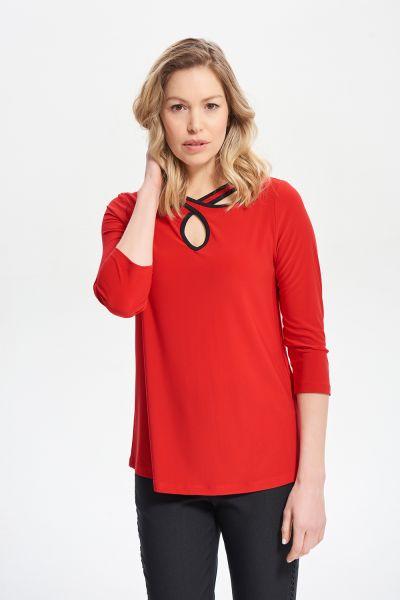 Joseph Ribkoff Lipstick Red/Black Cut-Out Neckline Top Style 211097