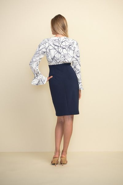 Joseph Ribkoff Printed Vanilla/Midnight Dress Style 211146