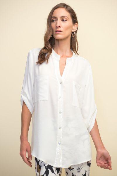 Joseph Ribkoff White Short Sleeve Blouse Style 211170