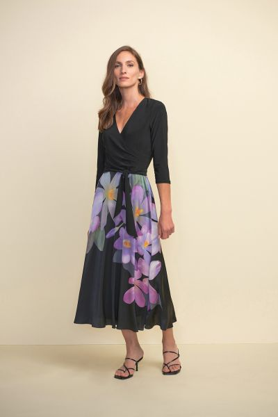 Joseph Ribkoff Black/Purple/Multi Dress Style 211177