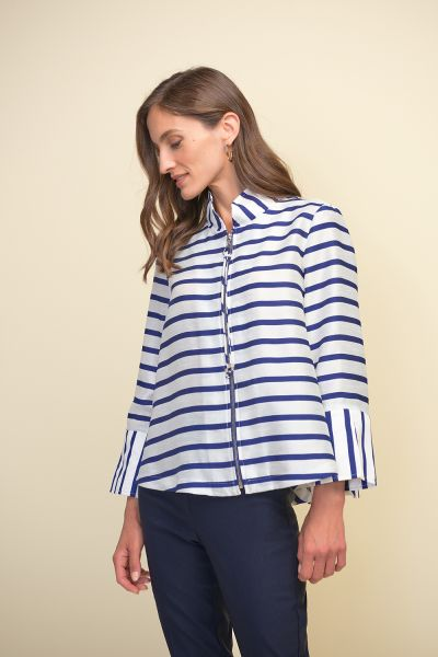 Joseph Ribkoff White/Blue Jacket Style 211182