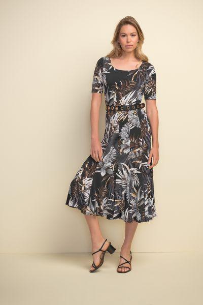 Joseph Ribkoff Black/Multi Tropical Print Short Sleeve Dress Style 211186