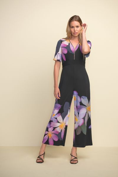 Joseph Ribkoff Black/Purple/Multi Jumpsuit Style 211218