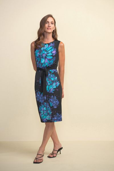 Joseph Ribkoff Sleeveless Floral Black/Multi Dress Style 211220