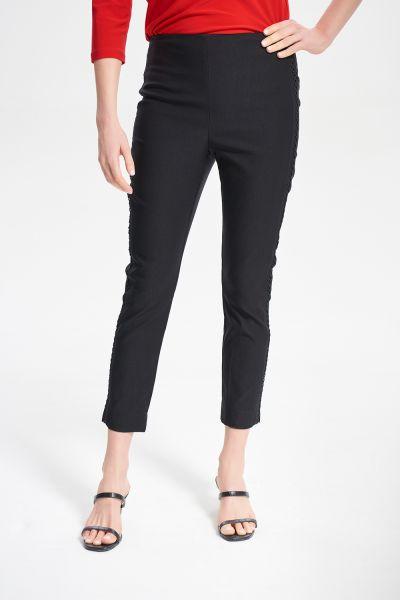 Joseph Ribkoff Black Embroidered Trim Pant Style 211241