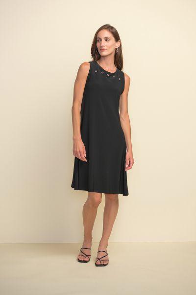 Joseph Ribkoff Black Dress Grommet Detail A-line Dress Style 211244