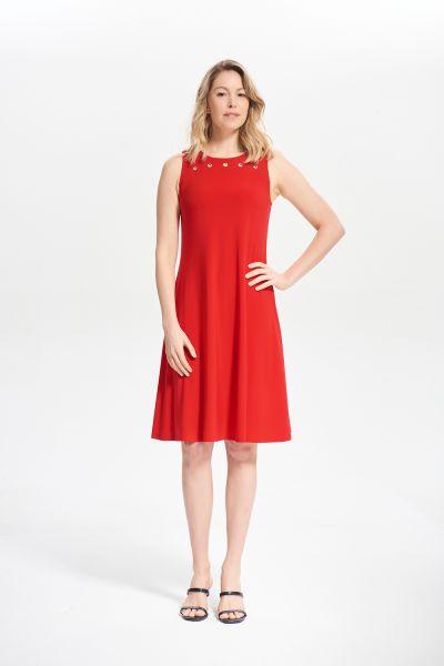 Joseph Ribkoff Lipstick Red Grommet Detail A-line Dress Style 211244