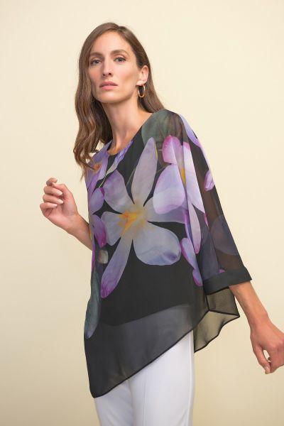 Joseph Ribkoff Black/Purple/Multi Top Style 211264