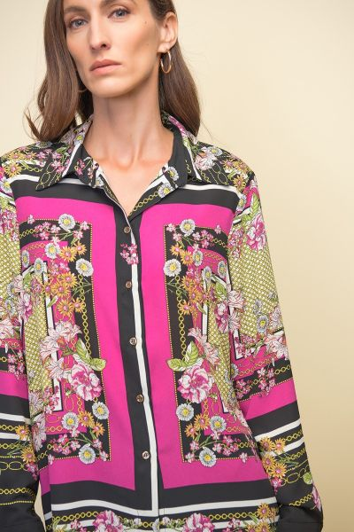 Joseph Ribkoff Mixed Print Multi Blouse Style 211270