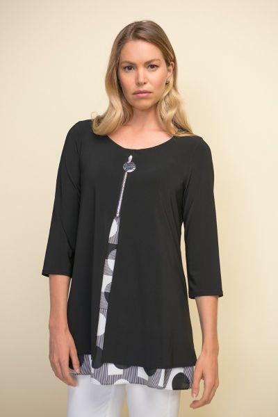 Joseph Ribkoff Black/White Layered Tunic Style 211275