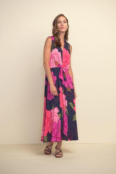Joseph Ribkoff Pink/Multi Floral & Polka Dot Dress Style 211279