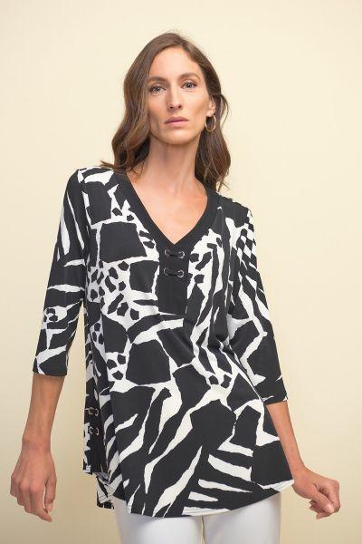 Joseph Ribkoff Vanilla/Black Tunic Style 211285