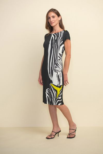 Joseph Ribkoff Black/Multi Animal Print Short Sleeve Dress Style 211344
