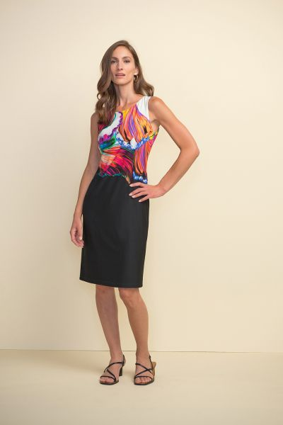 Joseph Ribkoff Black/Multi Printed Two-Tone Dress Style 211346
