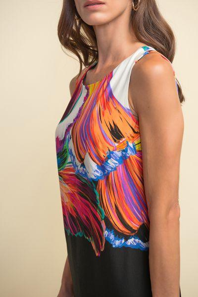 Joseph Ribkoff Black/Multi Printed Two-Tone Dress Style 211346