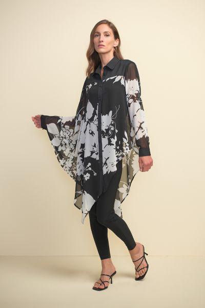 Joseph Ribkoff Black/Multi Draped Blouse Style 211352