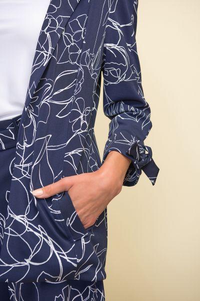 Joseph Ribkoff Midnight Blue/Vanilla Floral Print Jacket Style 211363