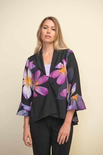 Joseph Ribkoff Black/Purple/Multi Floral Jacket Style 211395
