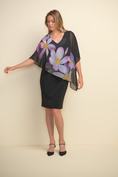 Joseph Ribkoff Black/Purple Multi Dress Style 211408
