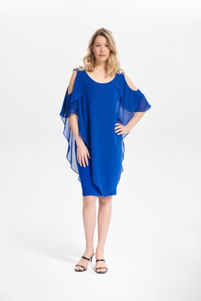 Joseph Ribkoff Royal Sapphire Cold Shoulder Layer Dress Style 211421