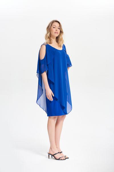 Joseph Ribkoff Royal Sapphire Cold Shoulder Layer Dress Style 211421