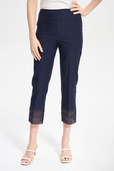Joseph Ribkoff Midnight Blue Lace Trim Capri Style 211436