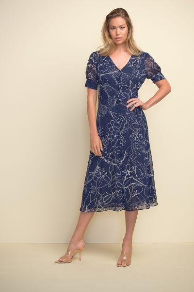 Joseph Ribkoff Midnight Blue/Vanilla Dress Style 211443