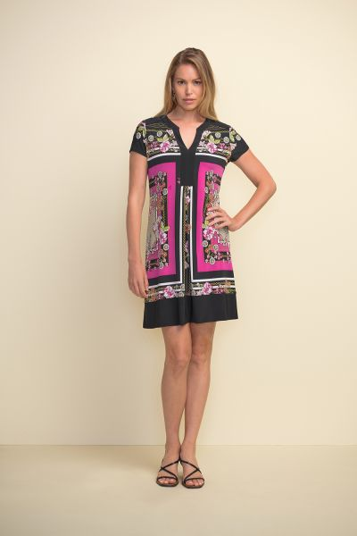 Joseph Ribkoff Black/Multi Dress Style 211444