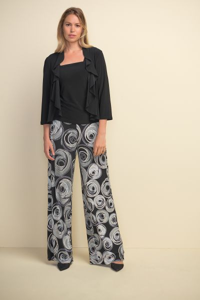 Joseph Ribkoff Black Ruffled Cardigan Style 211468
