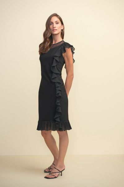 Joseph Ribkoff Black Frilled Dress Style 211476