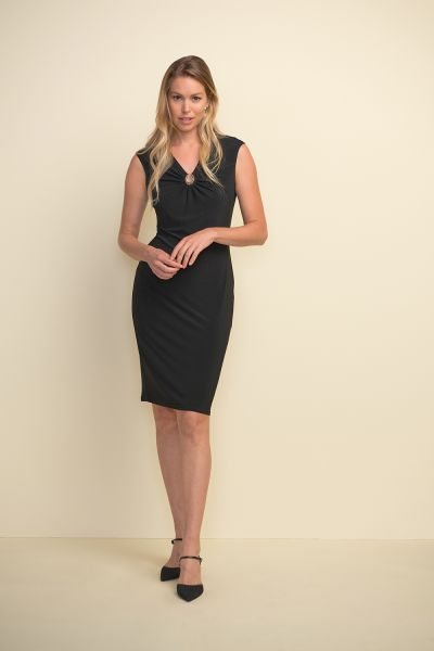 Joseph Ribkoff Black Hardware Detail Dress Style 211477