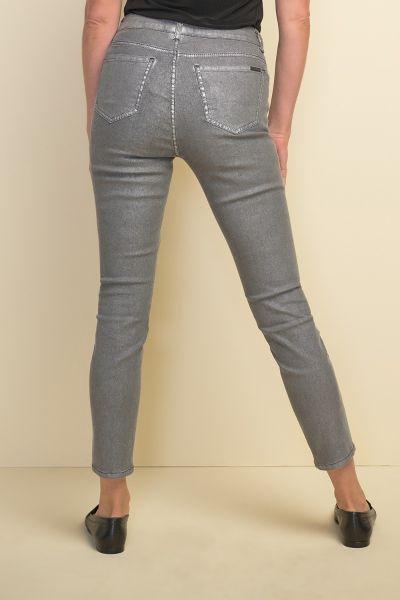 Joseph Ribkoff Sequin Metallic Grey Pants Style 211906