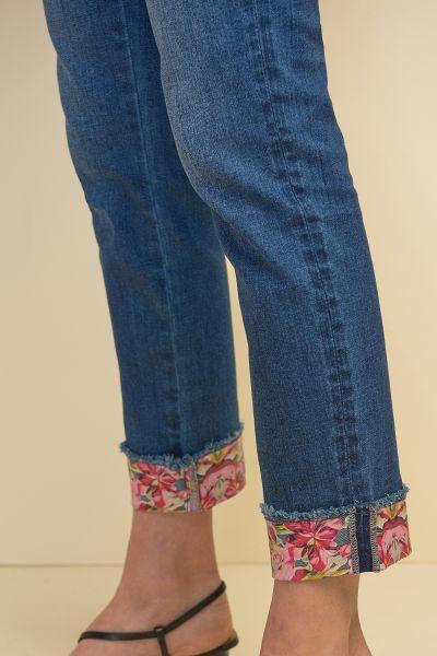 Joseph Ribkoff Blue Denim Floral High-Waisted Trim Jean Style 211946