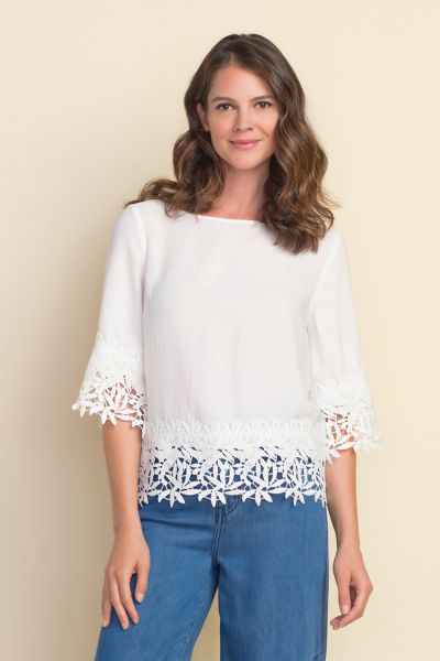 Joseph Ribkoff White Crochet Top Style 212033