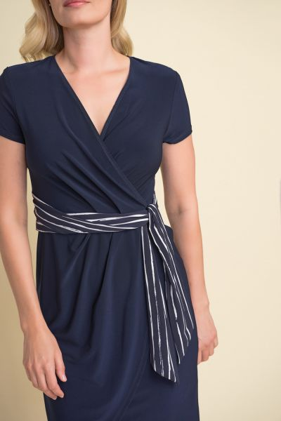 Joseph Ribkoff Midnight Blue/White Wrapped Belted Dress Style 212039