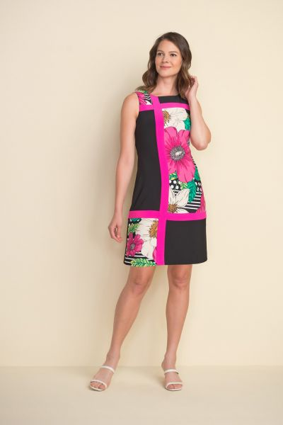 Joseph Ribkoff Black/Multi Floral Color Block Dress Style 212040