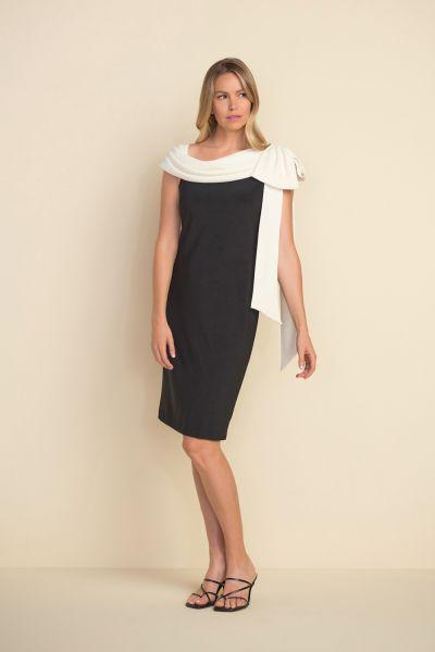 Joseph Ribkoff Black/Vanille One-strap Dress Style 212069