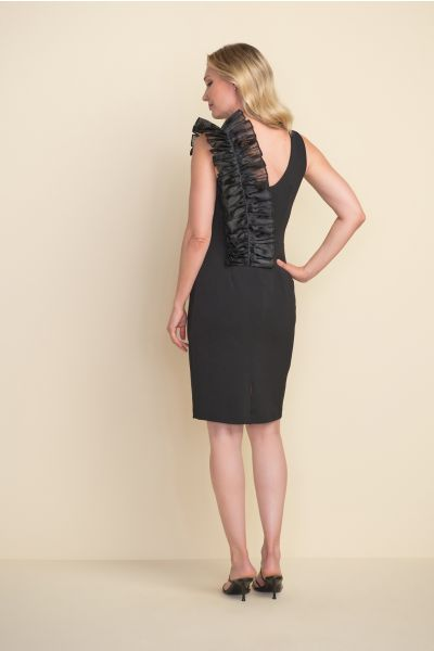 Joseph Ribkoff Black Ruffle Shoulder Dress Style 212074