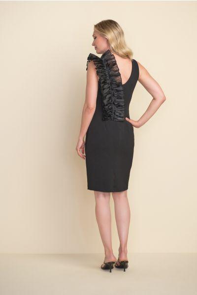 Joseph Ribkoff Black Ruffle Shoulder Dress Style 212074