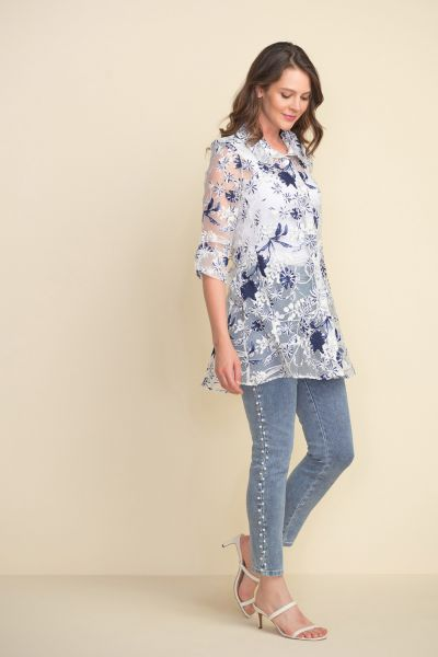 Joseph Ribkoff White/Blue Floral Tunic Style 212080