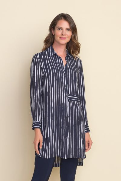 Joseph Ribkoff Midnight Blue/White Stripped Tunic Style 212082