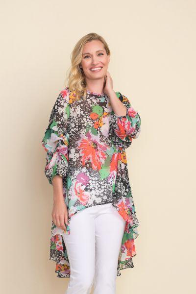 Joseph Ribkoff Black/Multi Floral Tunic Style 212123