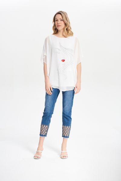 Joseph Ribkoff Vanilla Gem Detail Shirt Style 212125