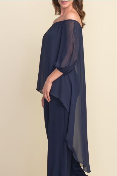 Joseph Ribkoff Midnight Blue Off-shoulder Jumpsuit Style 212148