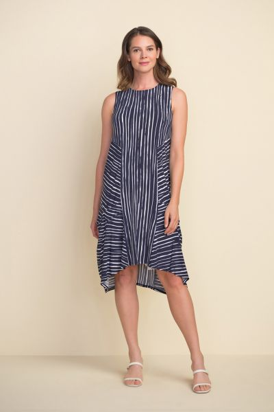 Joseph Ribkoff Midnight Blue/Vanilla Striped Dress Style 212152