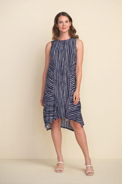 Joseph Ribkoff Midnight Blue/Vanilla Striped Dress Style 212152